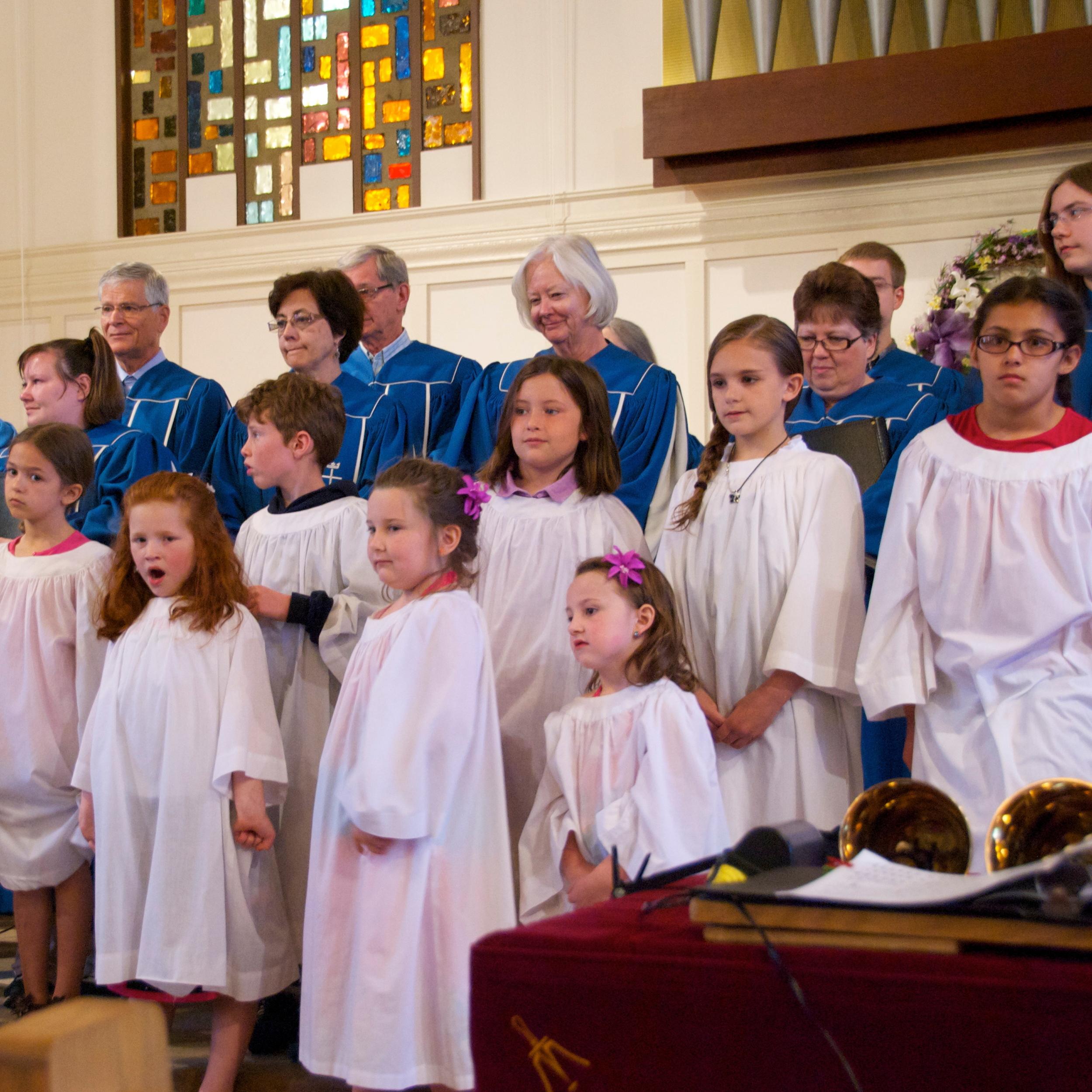 The Joyful Noise and Senior Choirs singing together
