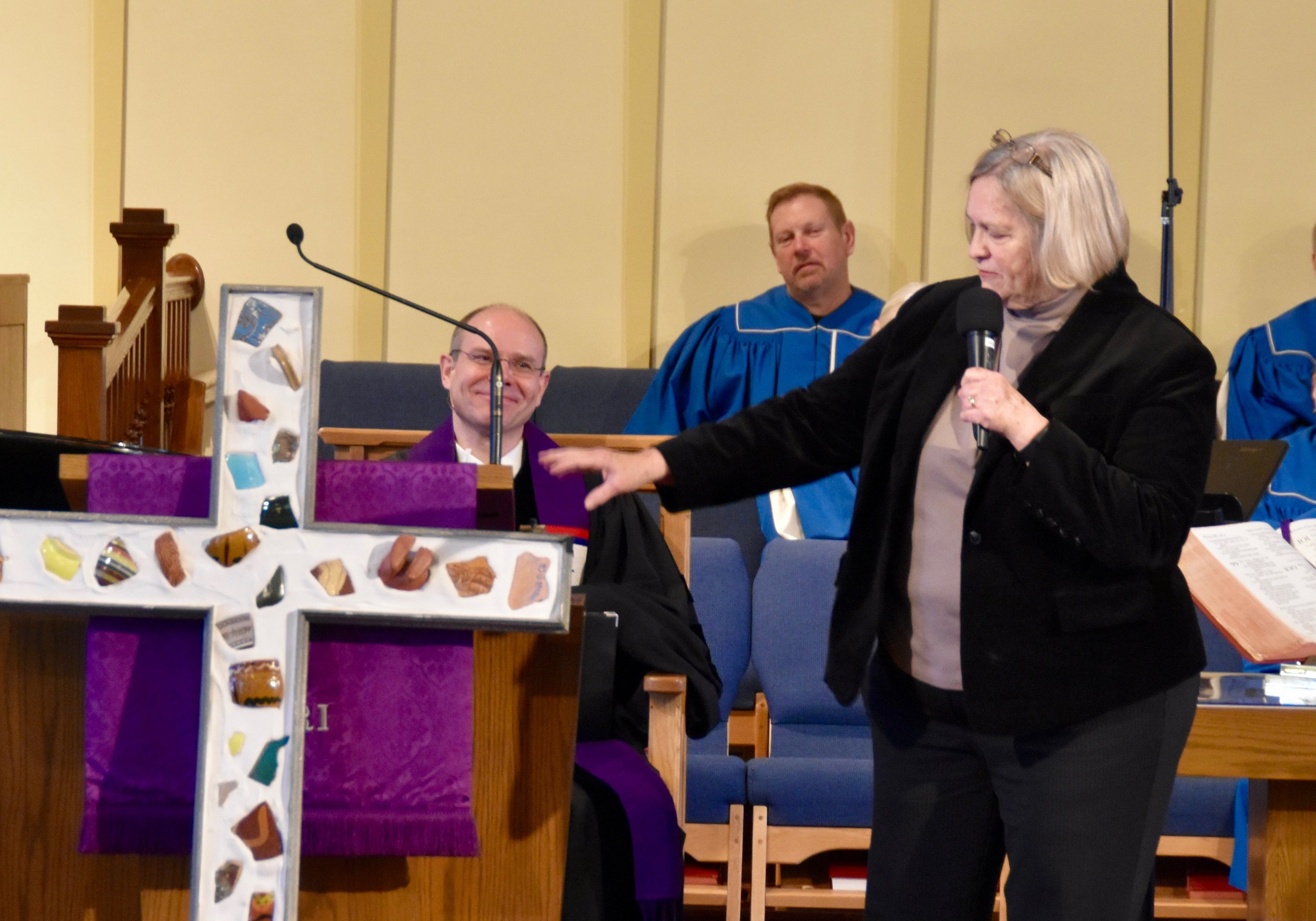 "Pastor Penny describes the meaning of the ""Broken"" Cross in worship."
