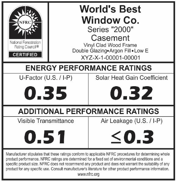 Figure 1: NFRC Certified Window Label