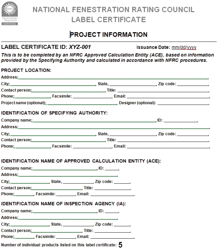 Figure 3: NFRC Label Certificate Example Page 1