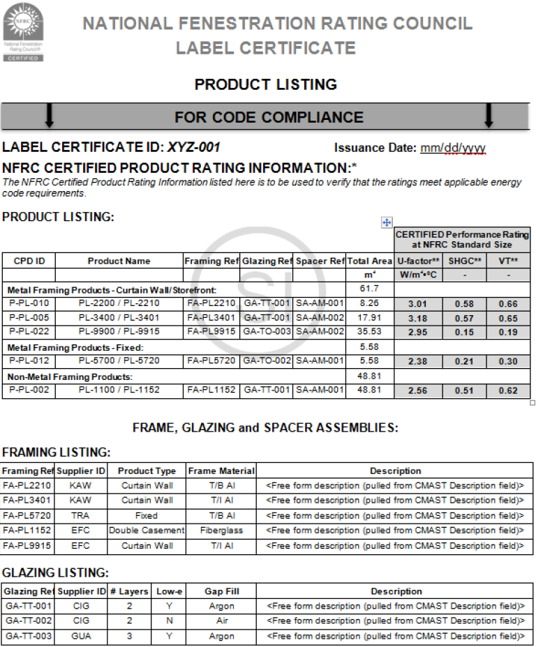 Figure 4: NFRC Label Certificate Example Page 2