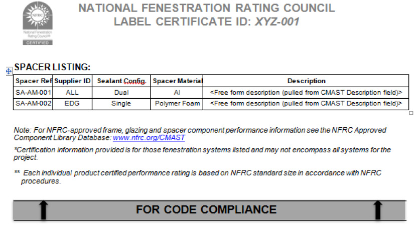 Figure 5: NFRC Label Certificate Example Page 3