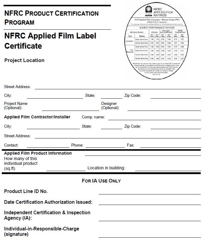 Figure 7: NFRC Applied Film Label Certificate Example