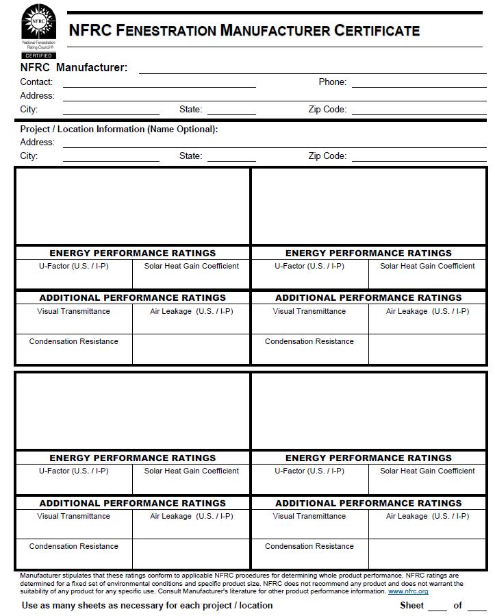 Figure 8: NFRC Manufacturer Certificate Example