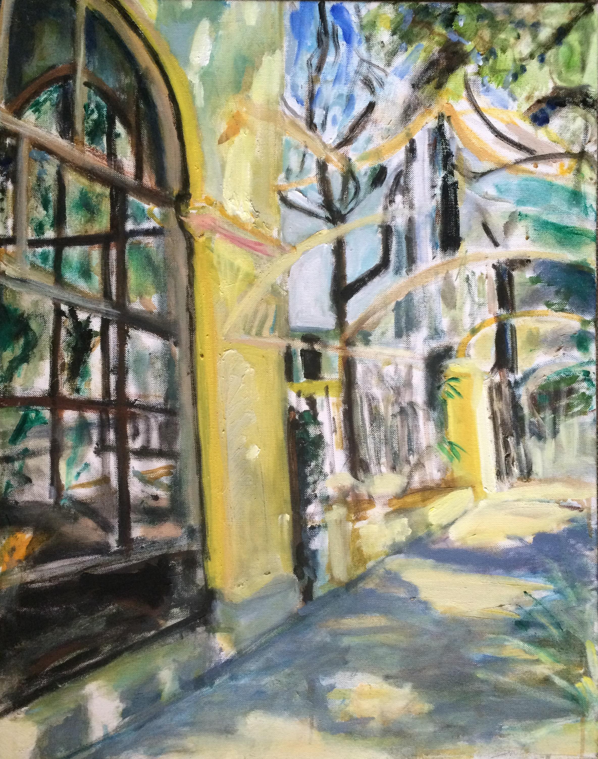 """Cuban Patio  Oil on Canvas  28"""" x 22"""""""