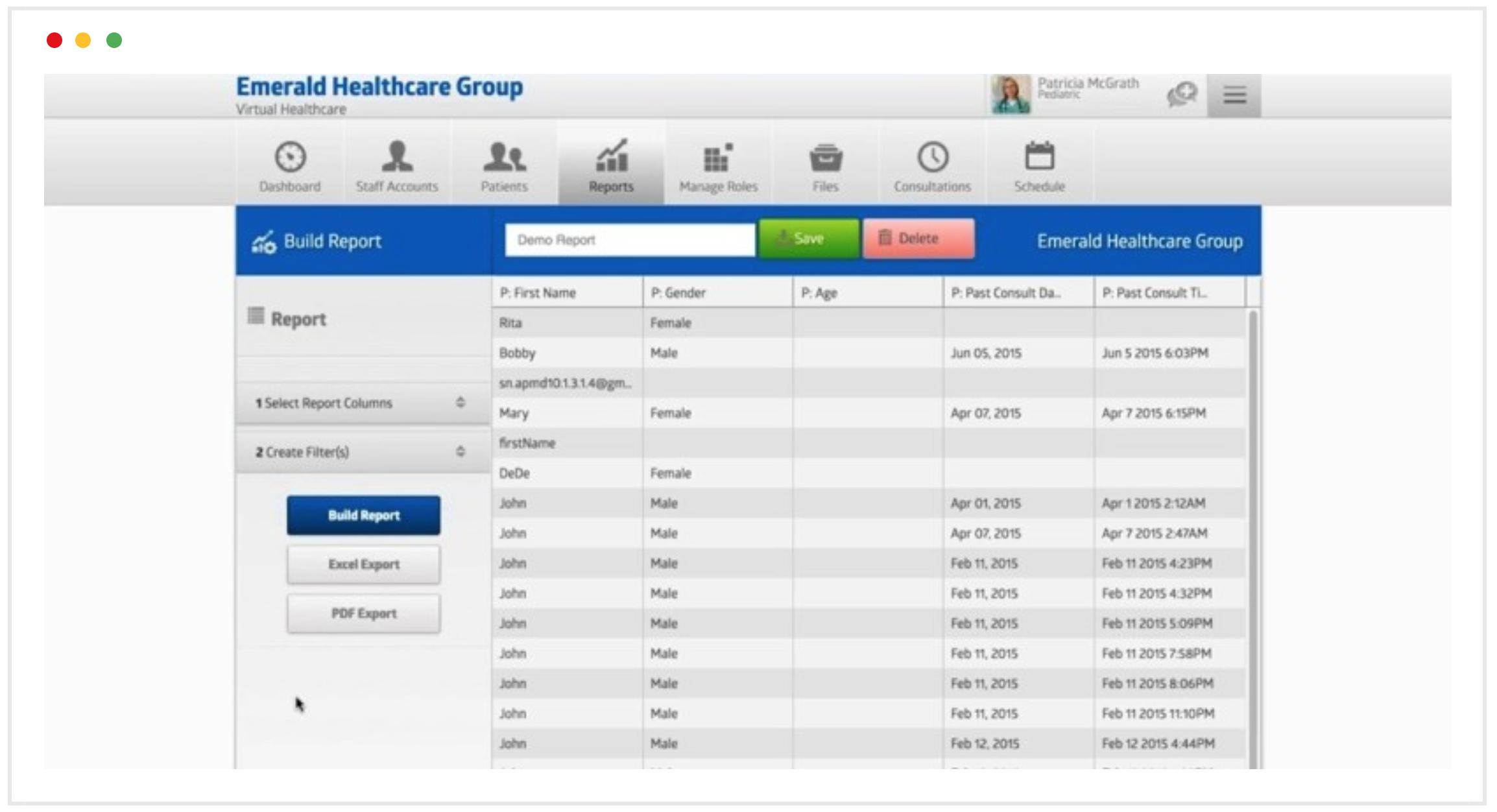 telemedicine customized reporting