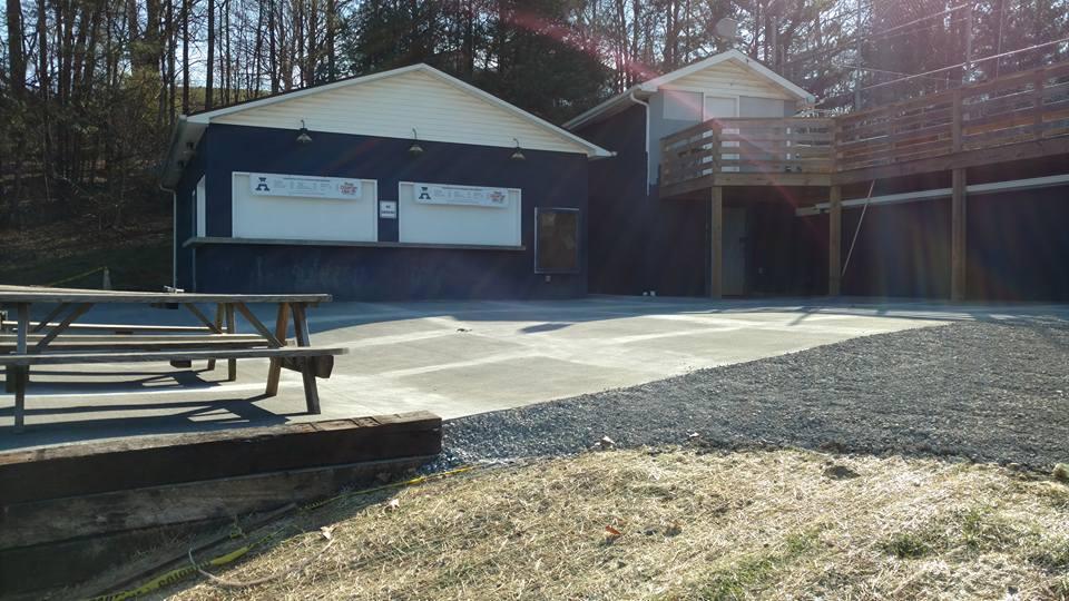 Concrete pavilion area.