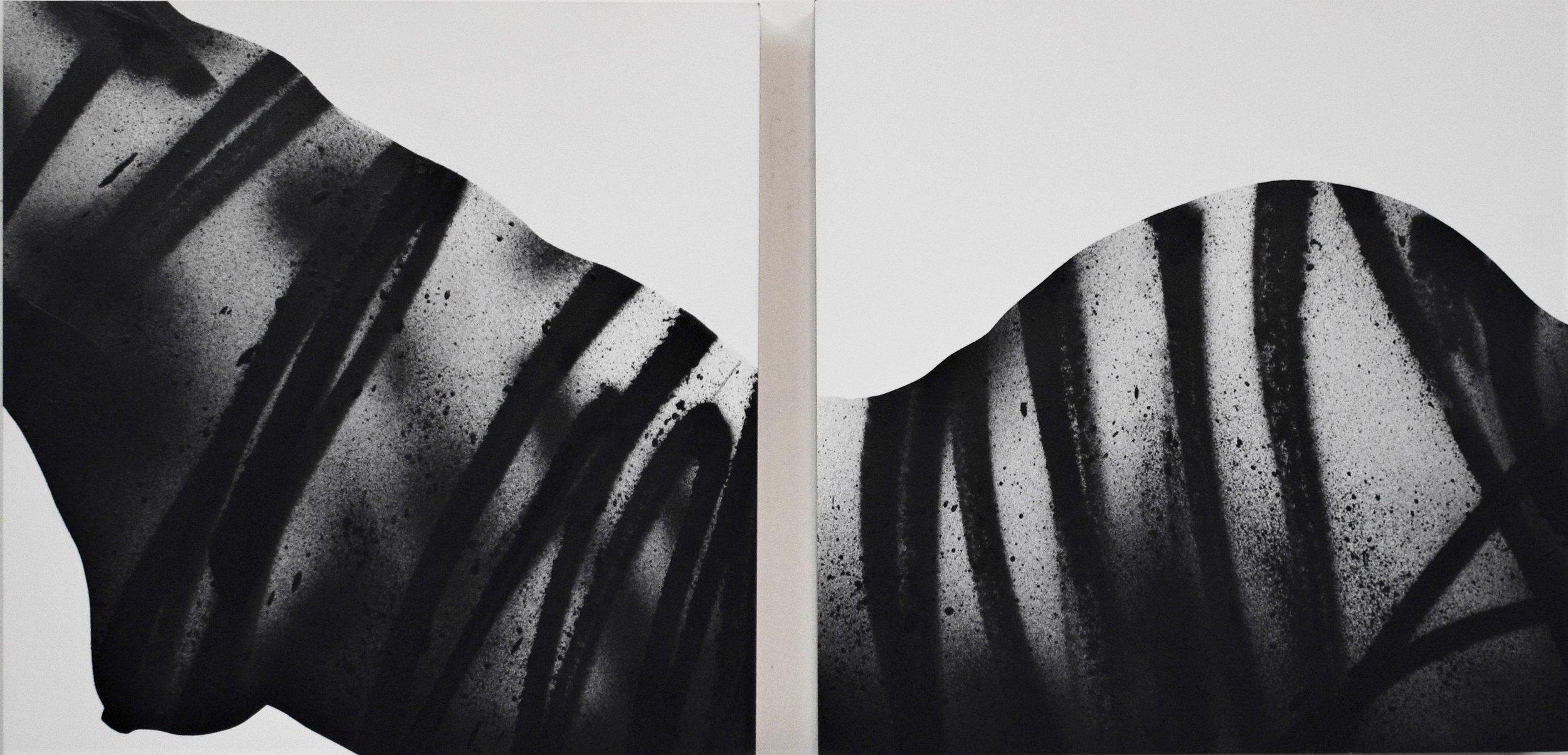 "Astraea    Spray paint and acrylic on wood panel, 2018  12 × 24 × 2"""