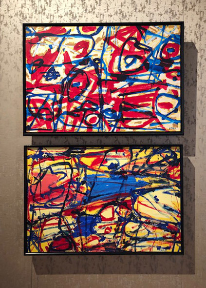 Two paintings from Dubuffet's  Mires  series