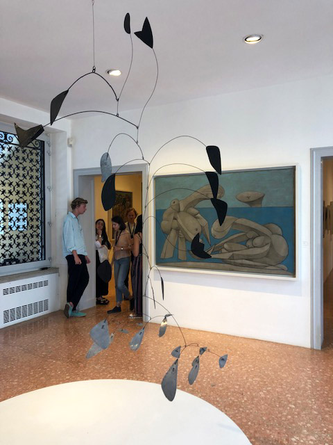 Calder's suspended mobile,  Arc of Petals , 1941. On the wall, Picasso's  On the Beach,  1937, in oil, conté crayon, and chalk on canvas.