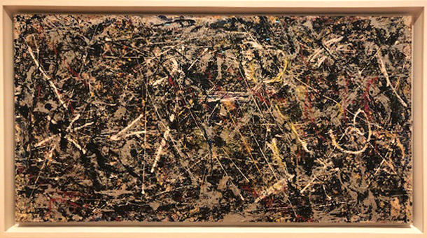 Jackson Pollock,  Alchemy . Oil, aluminum, alkyd enamel paint with sand, pebbles, fibers, and wood on commercially printed fabric. 1947.