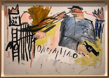 Jean-Michel Basquiat,  Untitled (Sheriff) , Acrylic and oilstick on canvas. 1981.