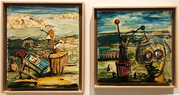 George Condo,  Automatic Still Life  (left);  Portrait of Michael Stewart  (right). Oil on wood panel. 1983