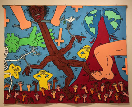 Keith Haring,  Michael Stewart – USA for Africa ,  Enamel and acrylic on canvas. 1985.