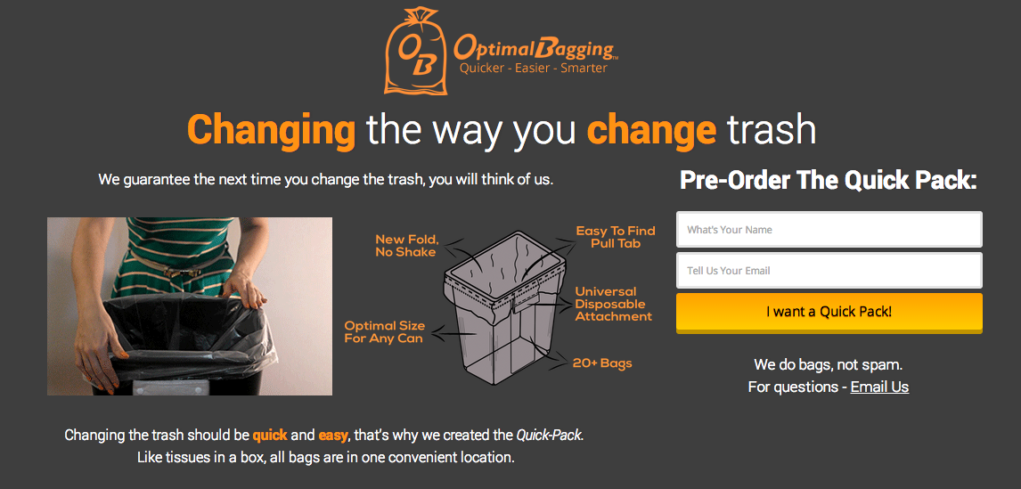 Optimal Bagging is accepting pre-orders in the lead up to their Kickstarter campaign in early 2015.