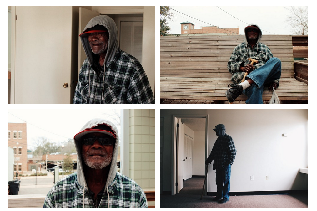While homeless, Jimmy Smith lost his teeth, but he never lost his smile. At the shelter, he was known for dancing with the band.