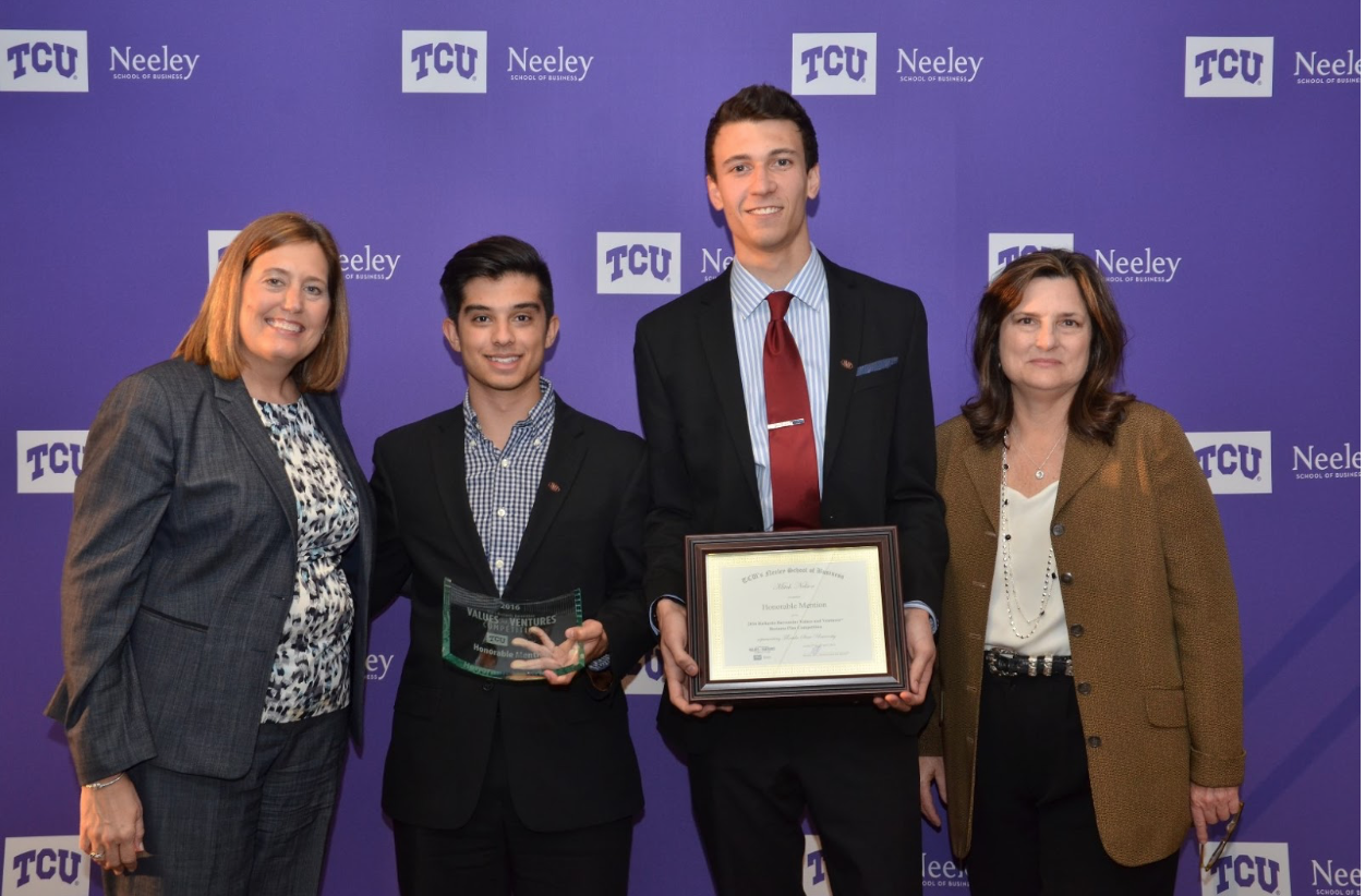 Founders Jason McIntosh ( left ) and Mitch Nelson ( right ) at TCU's Values and Ventures Social Enterprise competition.