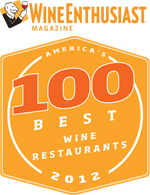 """Pago named one of """"100 Best Restaurants in America"""" by Wine Enthusiast Magazine 2012."""