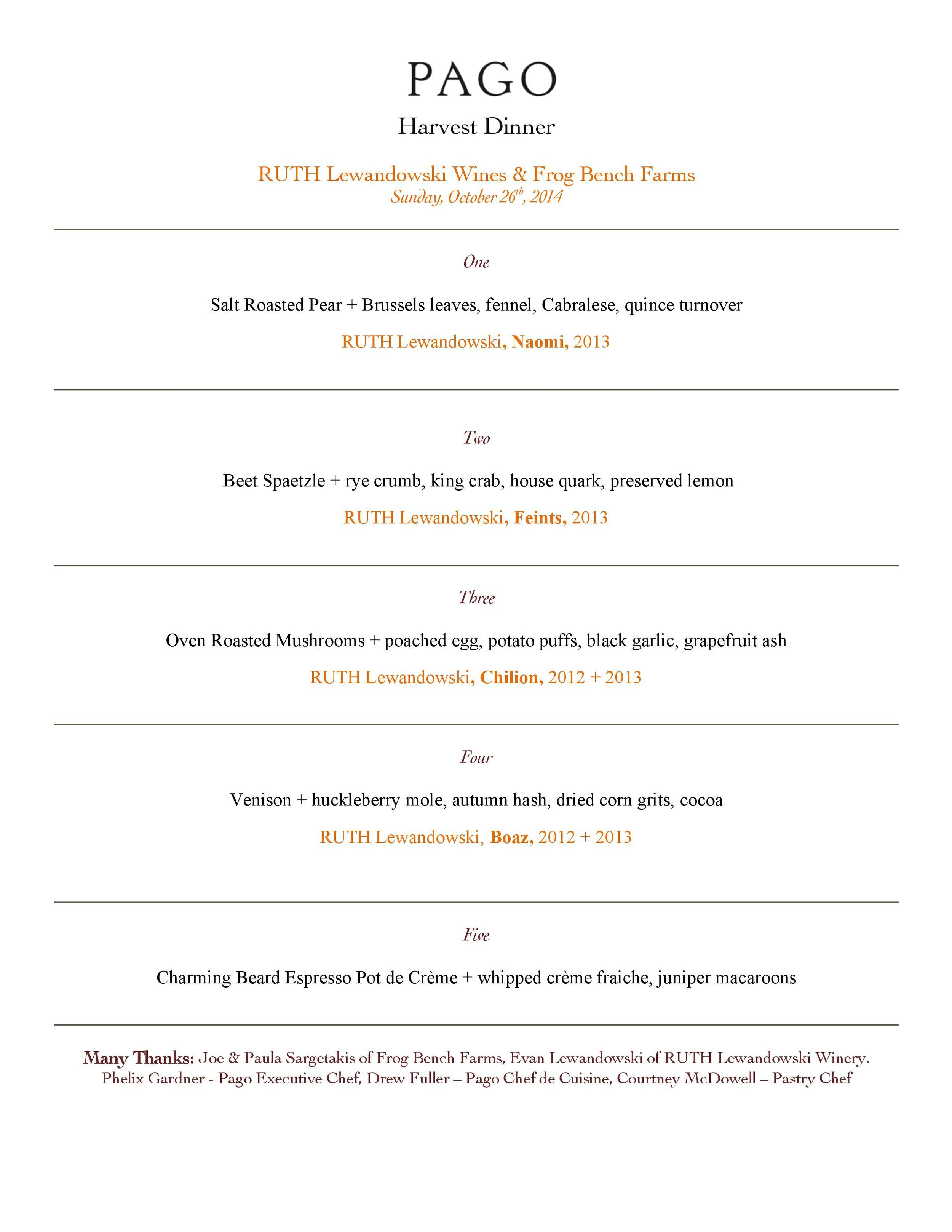 Ruth Harvest Dinner Menu