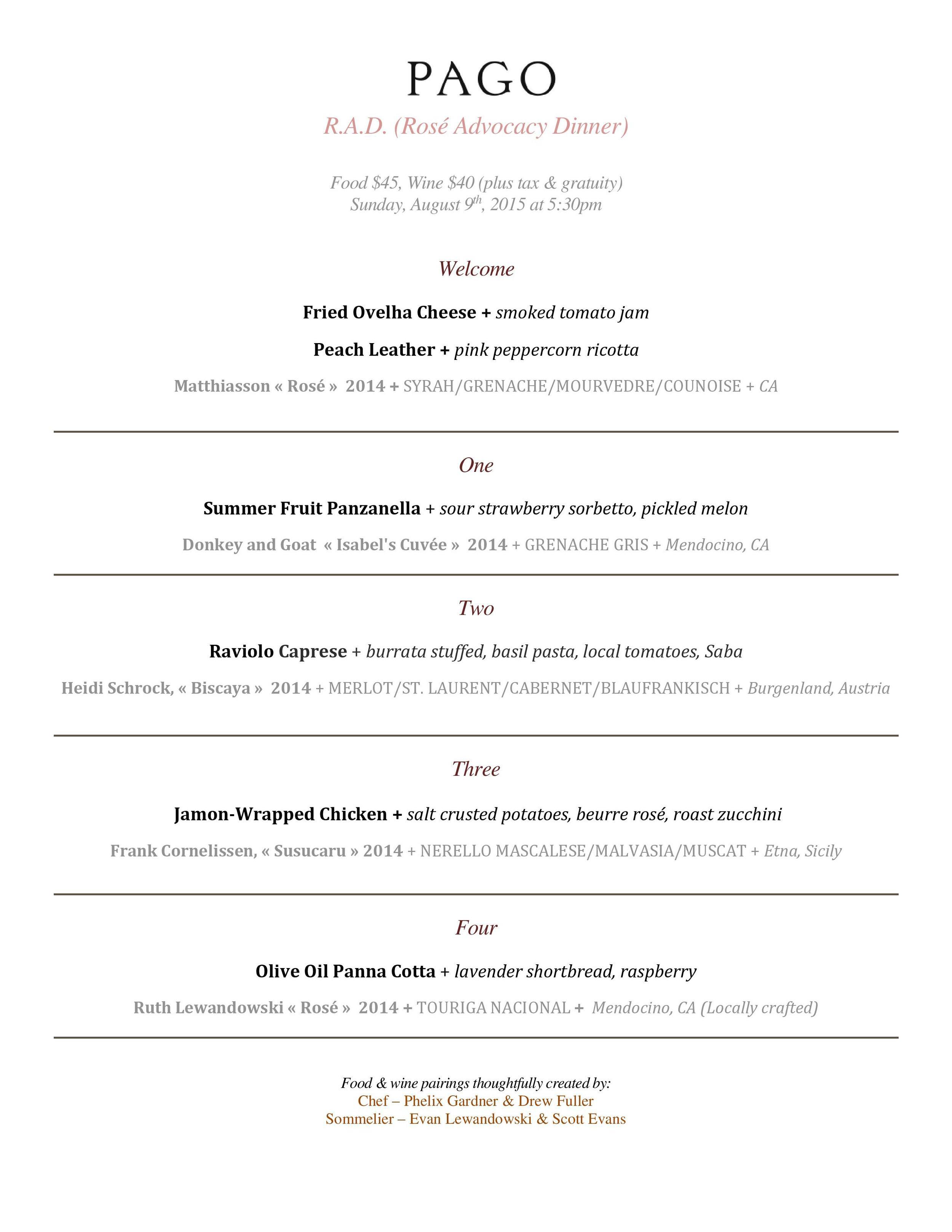 MENU - PAGO Rosé Advocacy Dinner (R.A.D.)