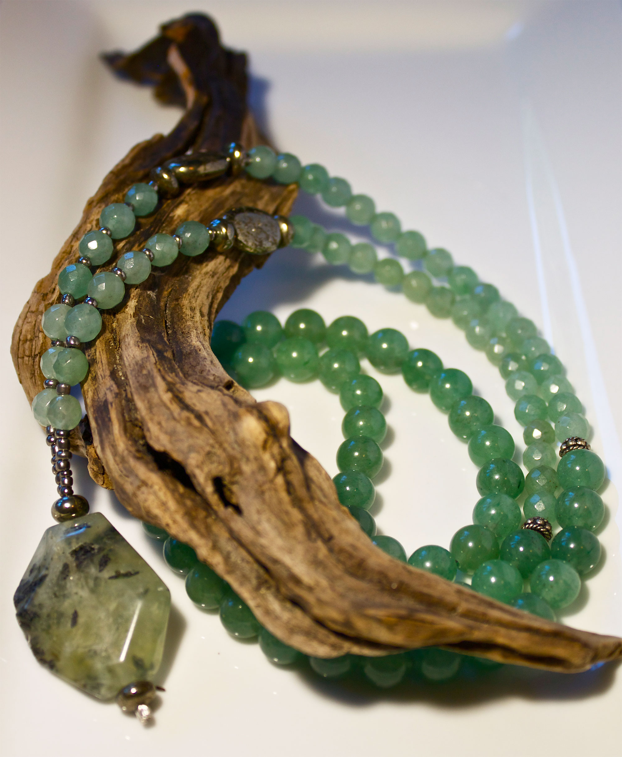 Green Aventurine and Pyrite with Prehnite Nugget Mala