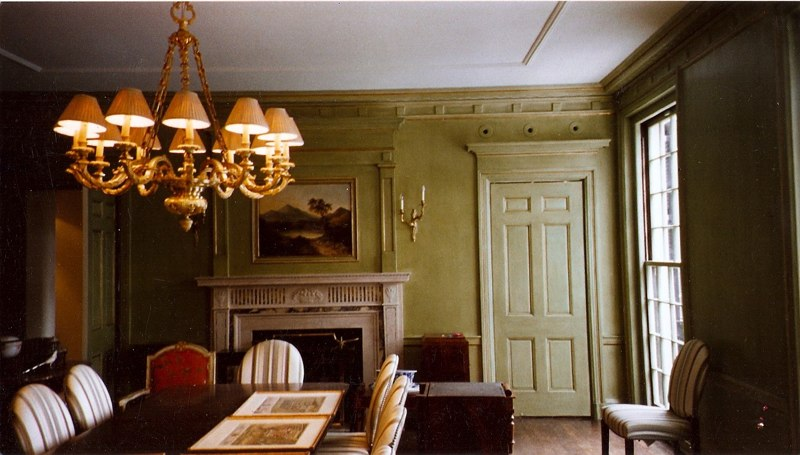 Glazed Painted Paneling with Gold Leaf