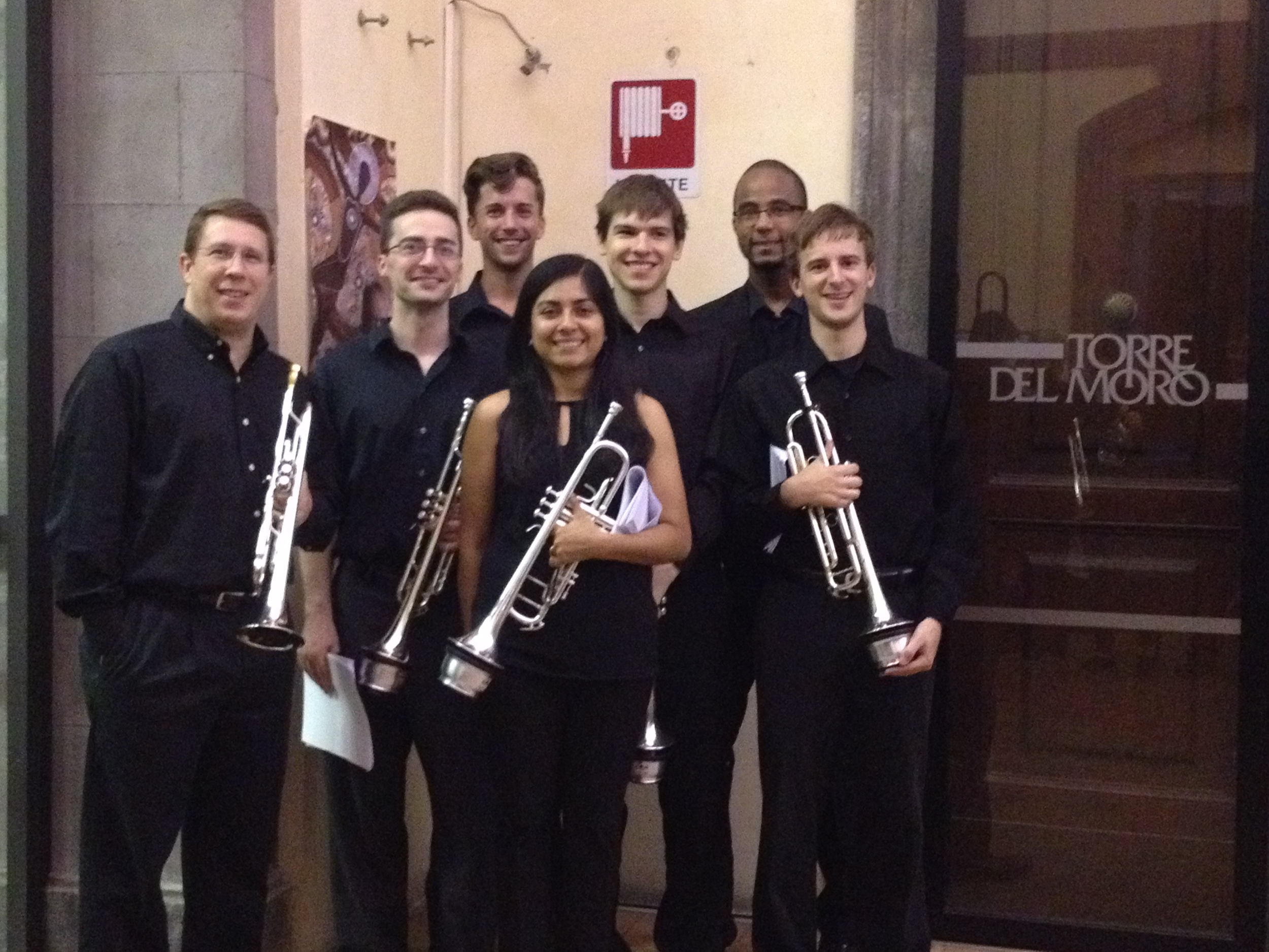 Professor James Ackley on the far left and the USC Trumpet Ensemble in Orvieto, Italy.