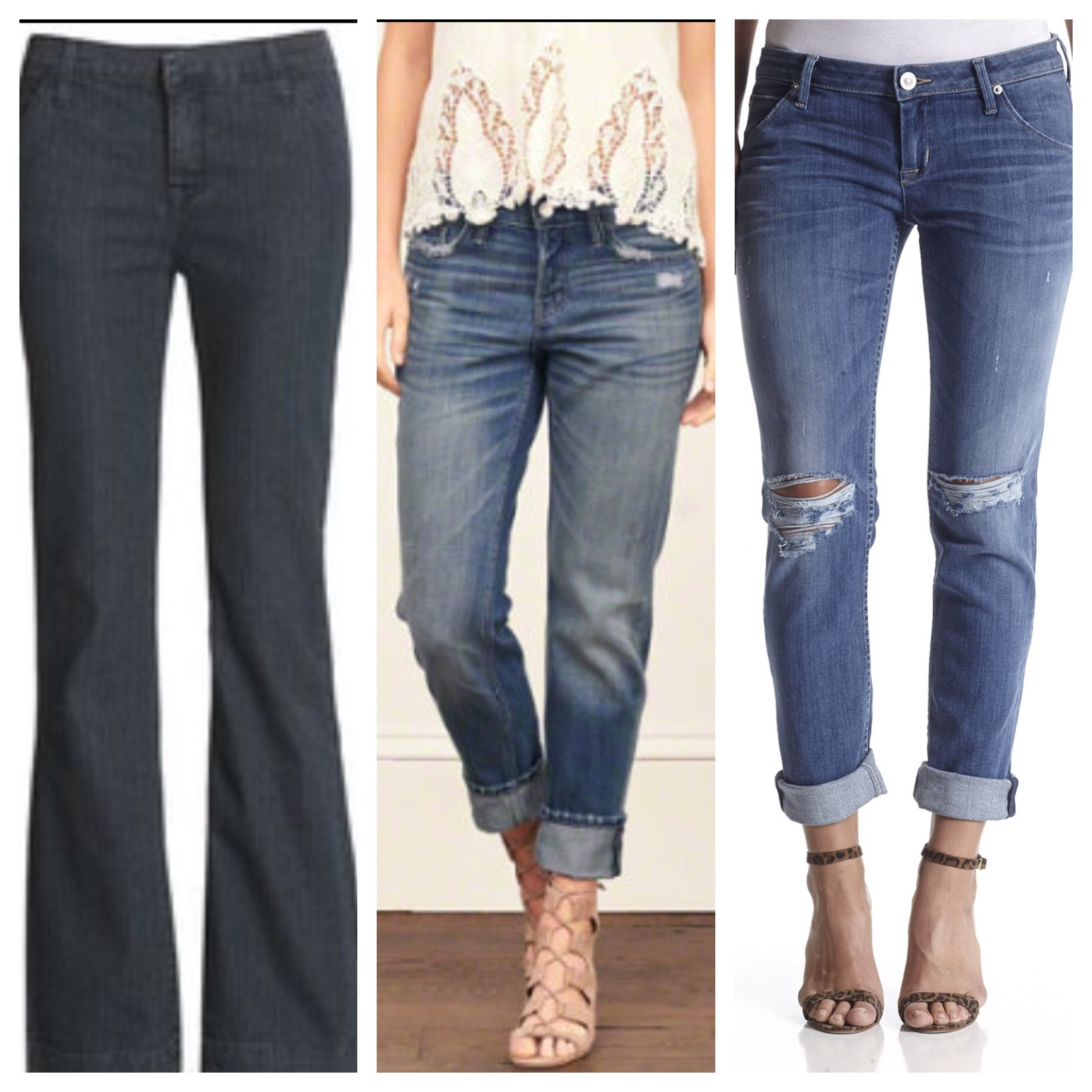Love the tailored flare pant, very slimming. Also a good pair of boyfriend jeans, you dress up or down!