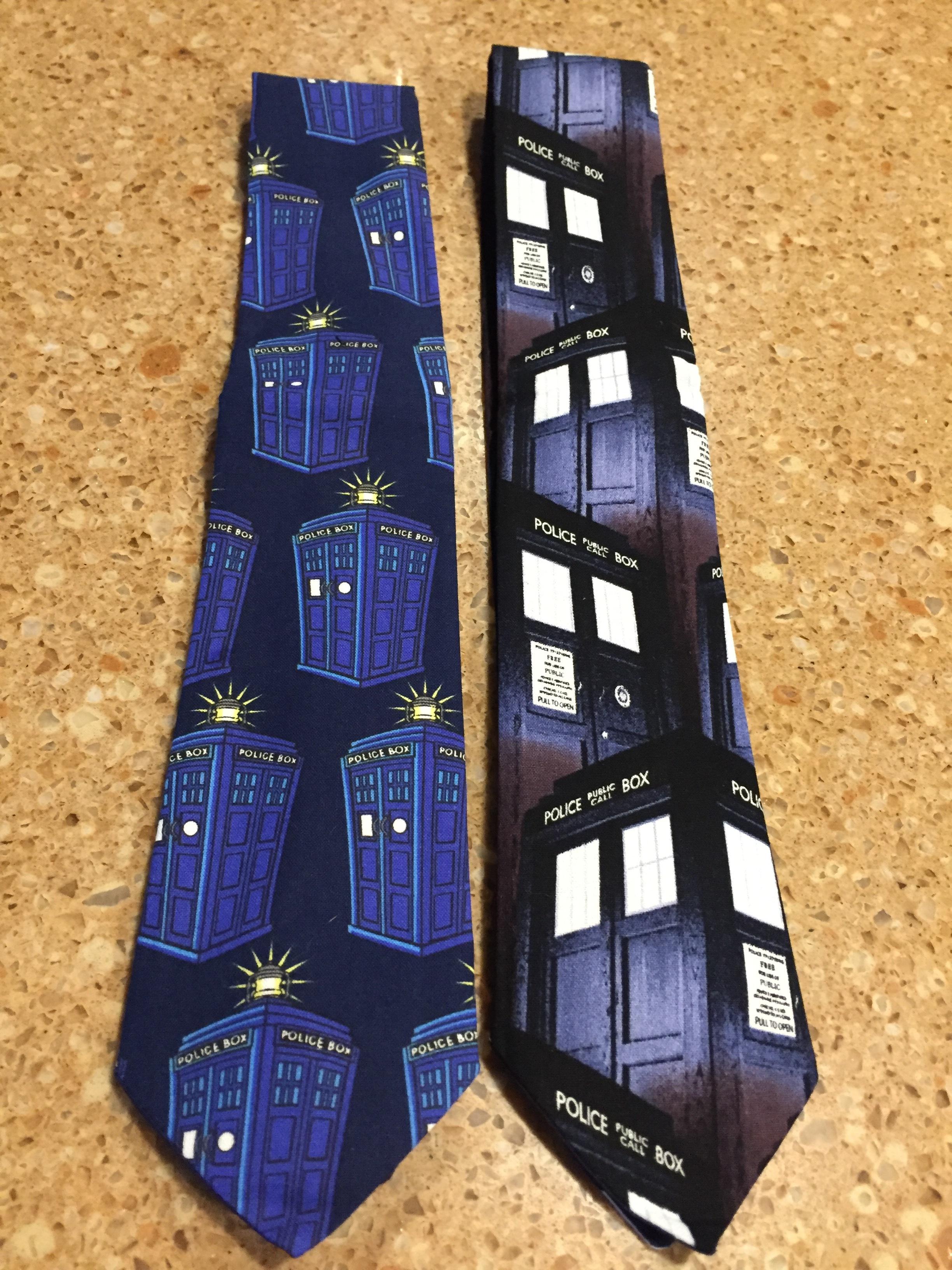 [Jaz's New Tardis Neckties -- PHOTO COPYRIGHT 2016 BY JAZ PRIMO]