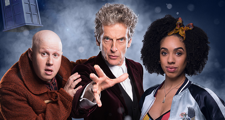 Nardole, the 12th Doctor, and Bill Potts from series 10.