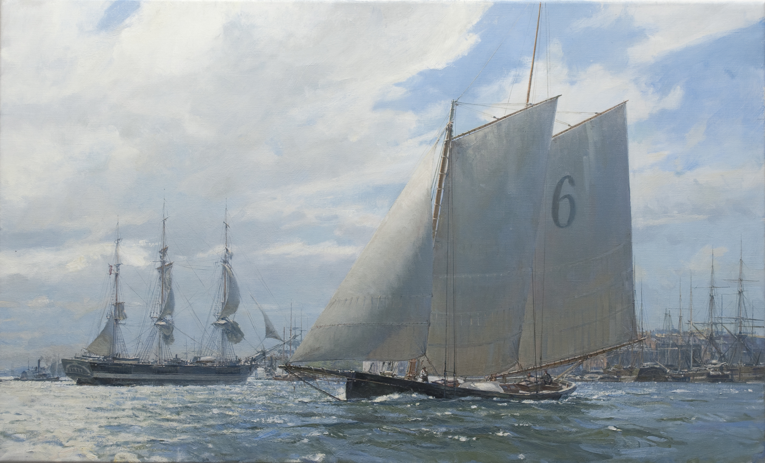 Blossom Final Pilot Boat George Steers Making for Buttermilk Channel, (Version 2) 22 x 36 Oil on Linen, Christopher Blossom (1 of 1).jpg