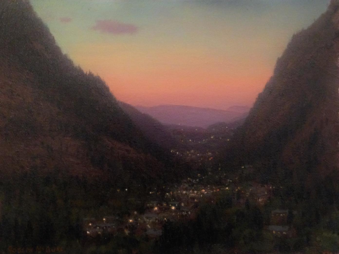 Plein Air, Twilight Comes to a Western Town