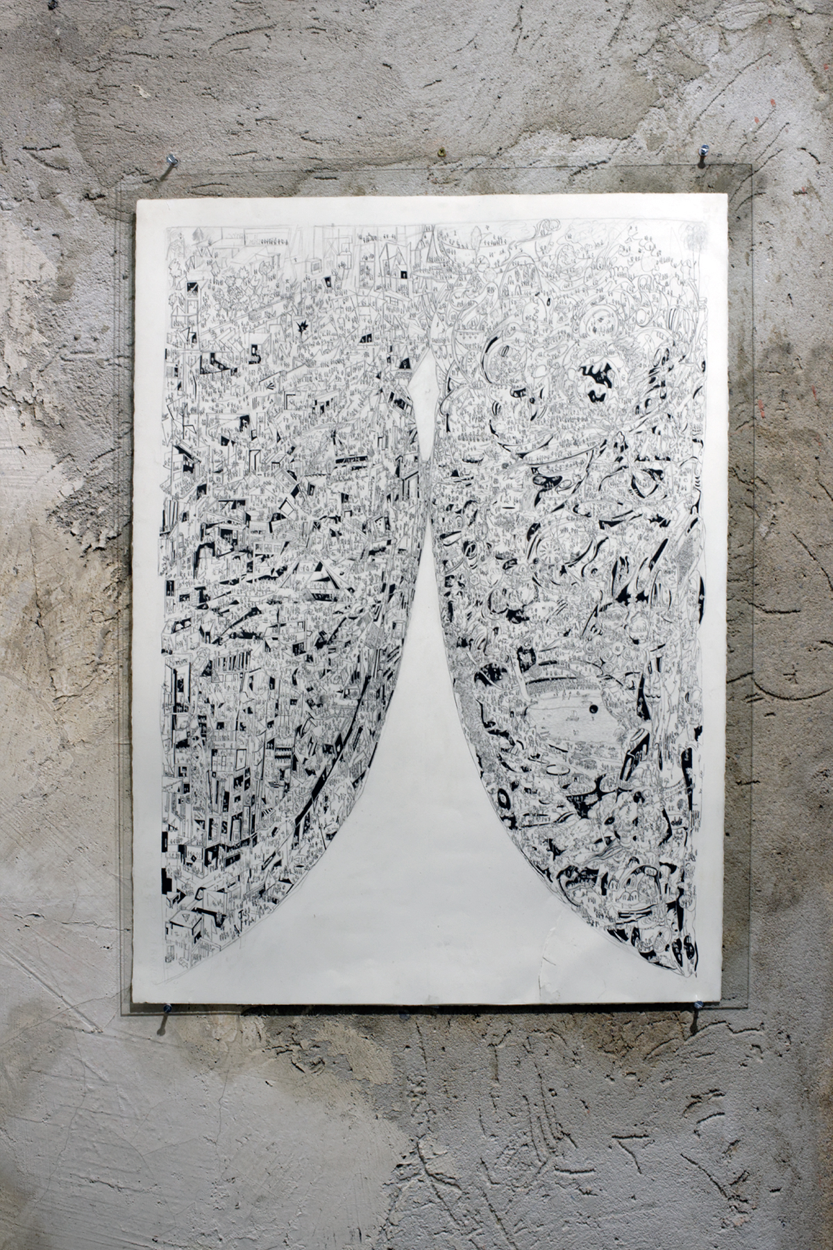 Charles-Henry de Pimodan -  tatouage  - encre de chine sur papier - 76 x 56 cm - 2016
