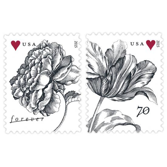 """United States Postal Service: """"Vintage Rose"""" FOREVER stamp & """"Vintage Tulip"""" WEDDING stamp (2015 Release)"""