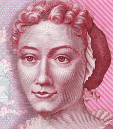 Portrait of Maria Sibyllan Merian from a 500DM banknote.