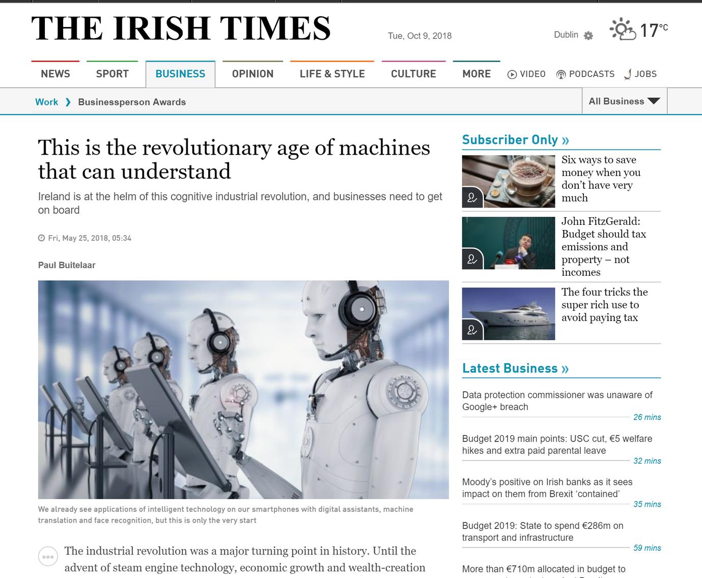 Dr Paul Buitelaar. The Irish Times. May 2018