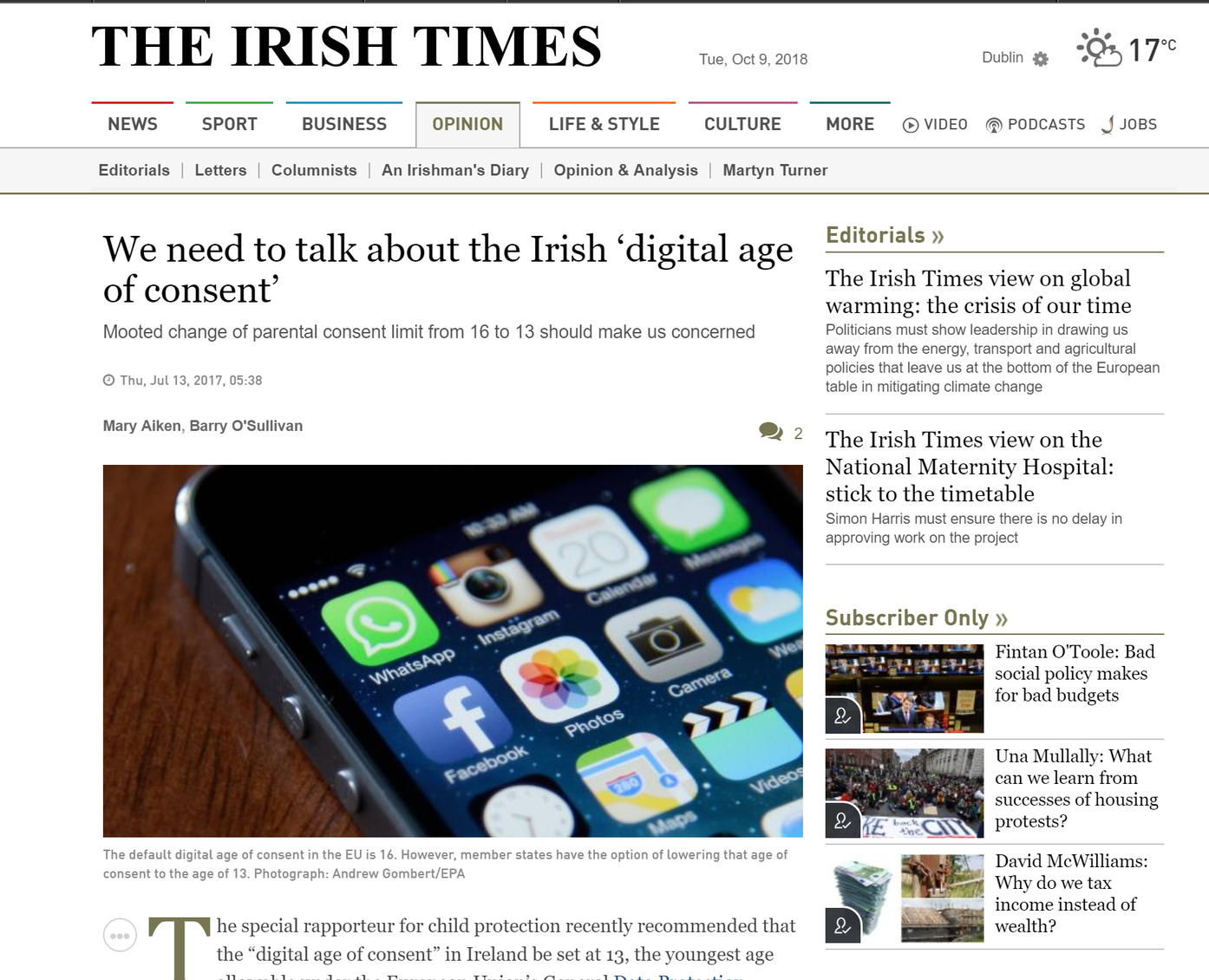 Dr Mary Aiken and Prof Barry O'Sullivan. Irish Times. July 2017