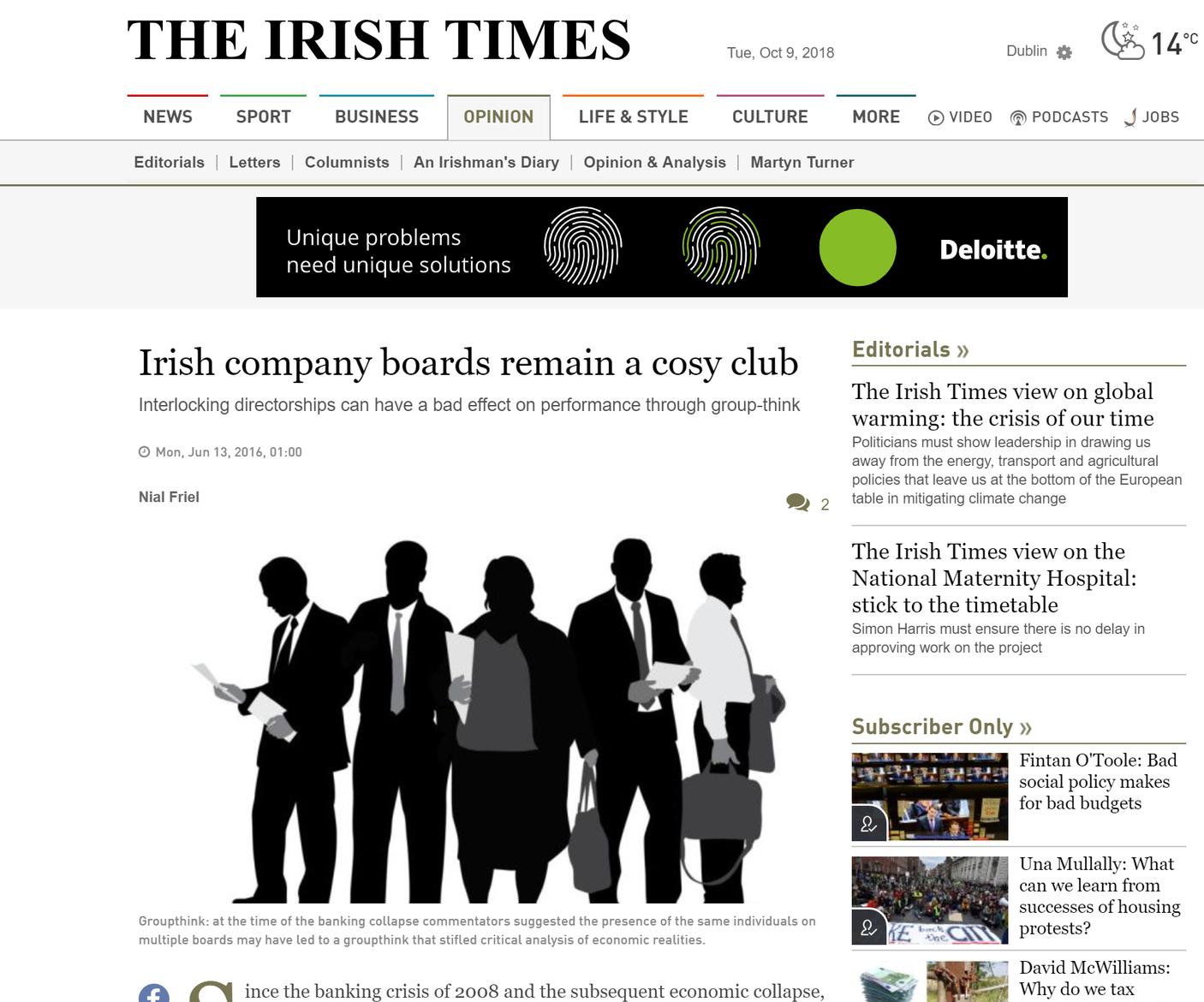 Prof Nial Friel. The Irish Times. June 2016