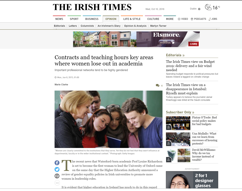 Prof Marie Clarke. The Irish Times. June 2015