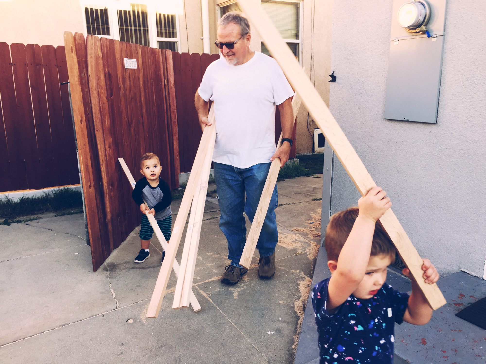 GRANDPA AND THE BOYS - BRINGING IN THE NEW LUMBER.