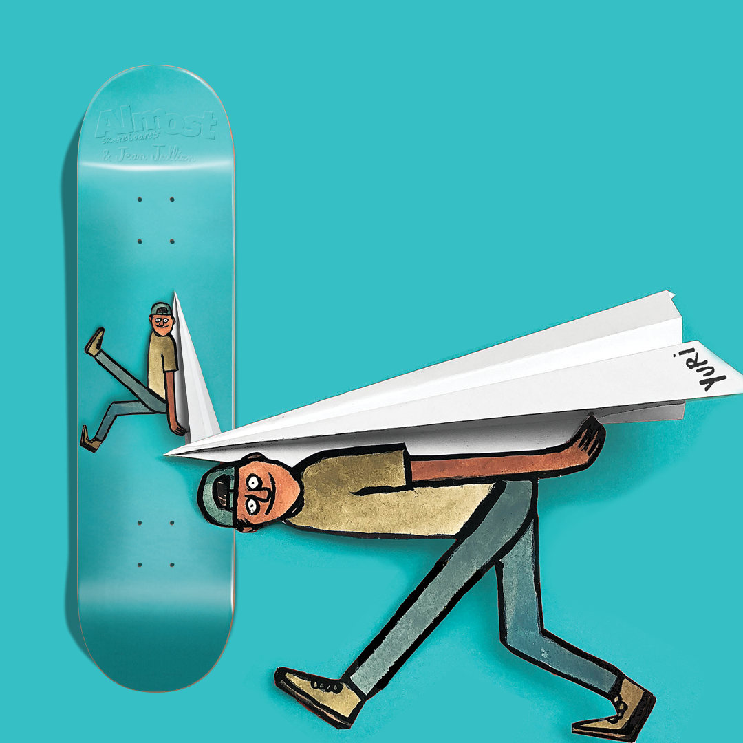 Almost skateboards jean jullien yuri facchini paper airplane  artist
