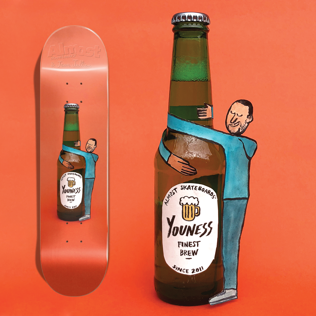 Almost Skateboards Youness amrani jean jullien love beer hug deck