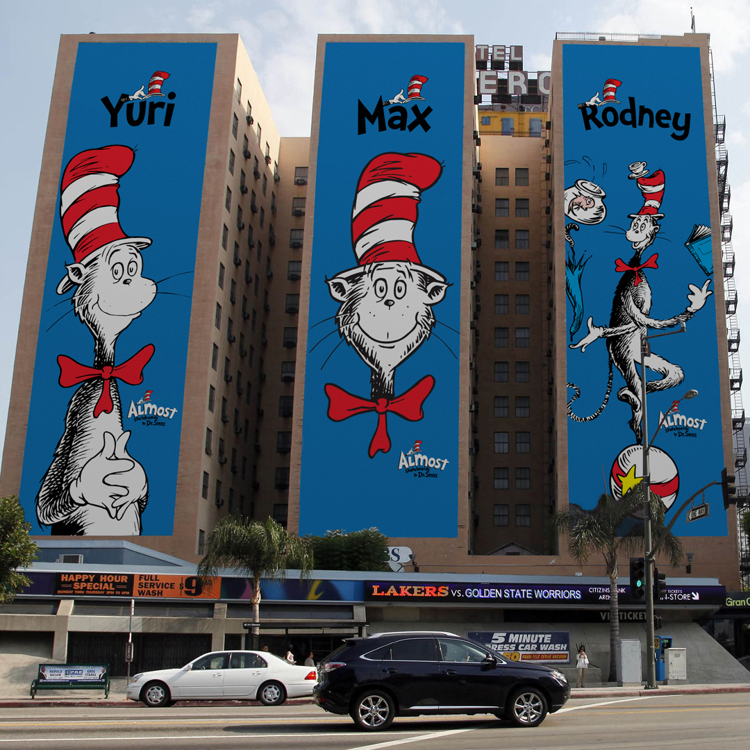 Almost skateboards by dr seuss collab building huge ads