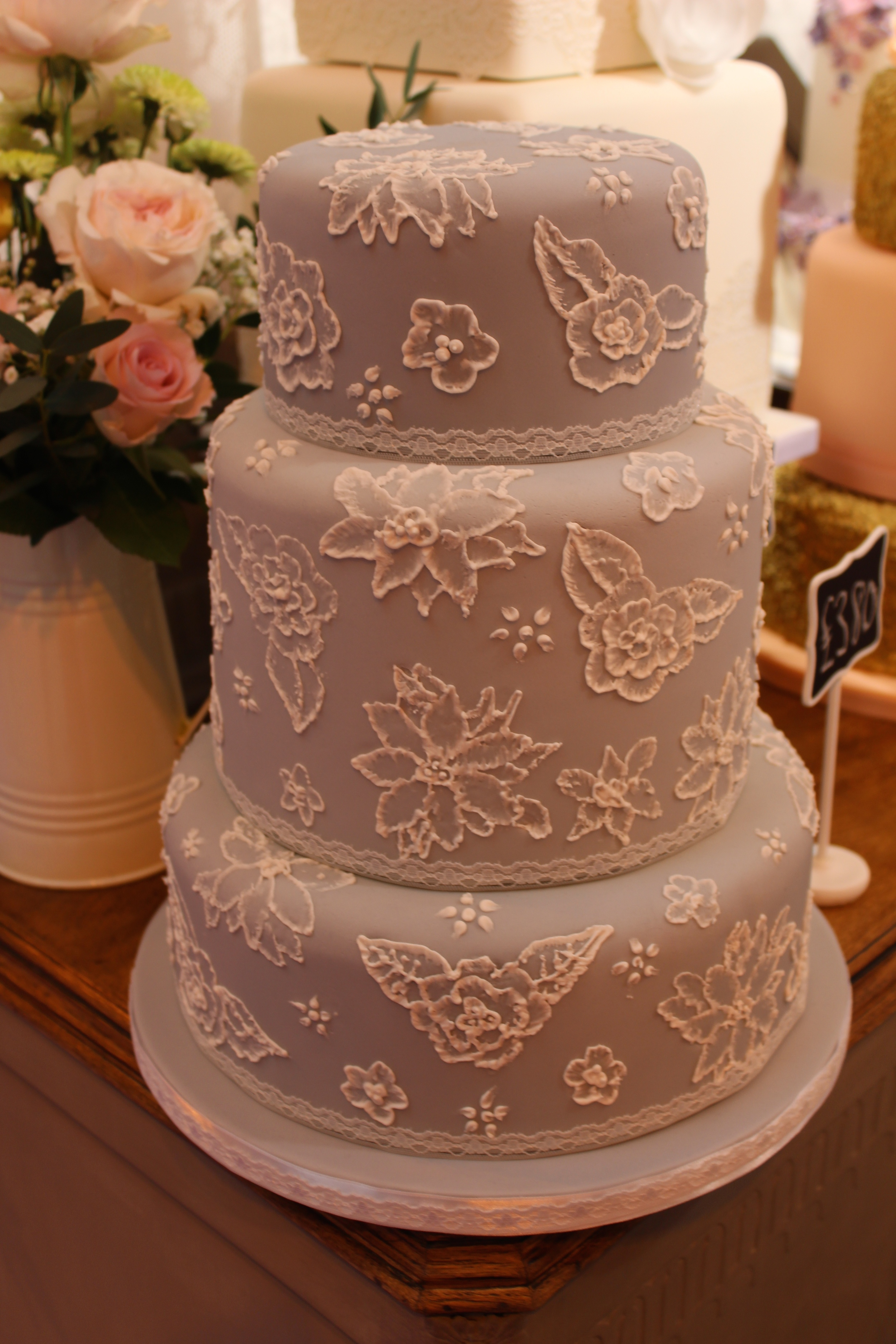 Grey and white brush embroidery 3 tier cake