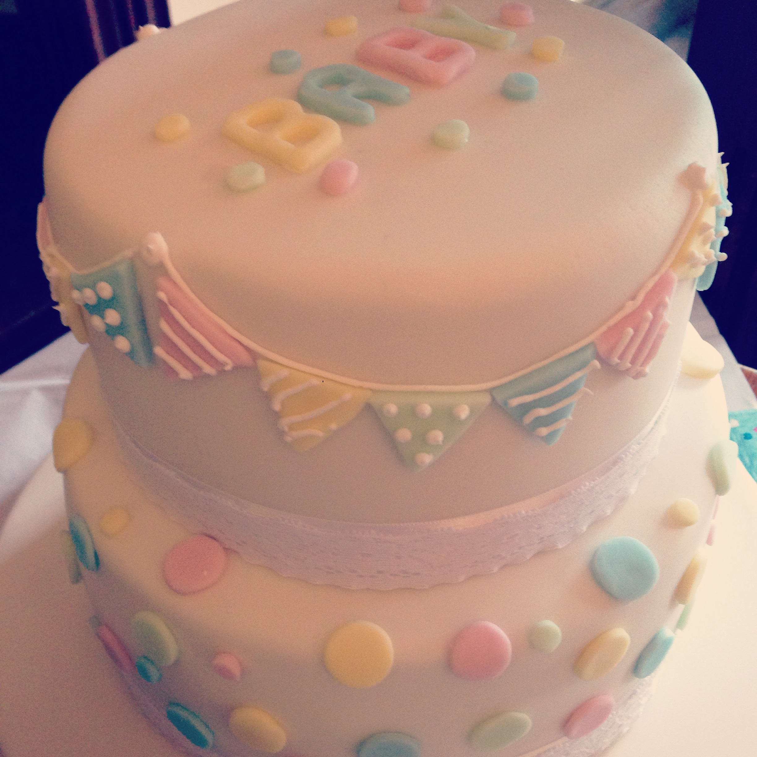 Baby Shower Polka Dots and Bunting Cake
