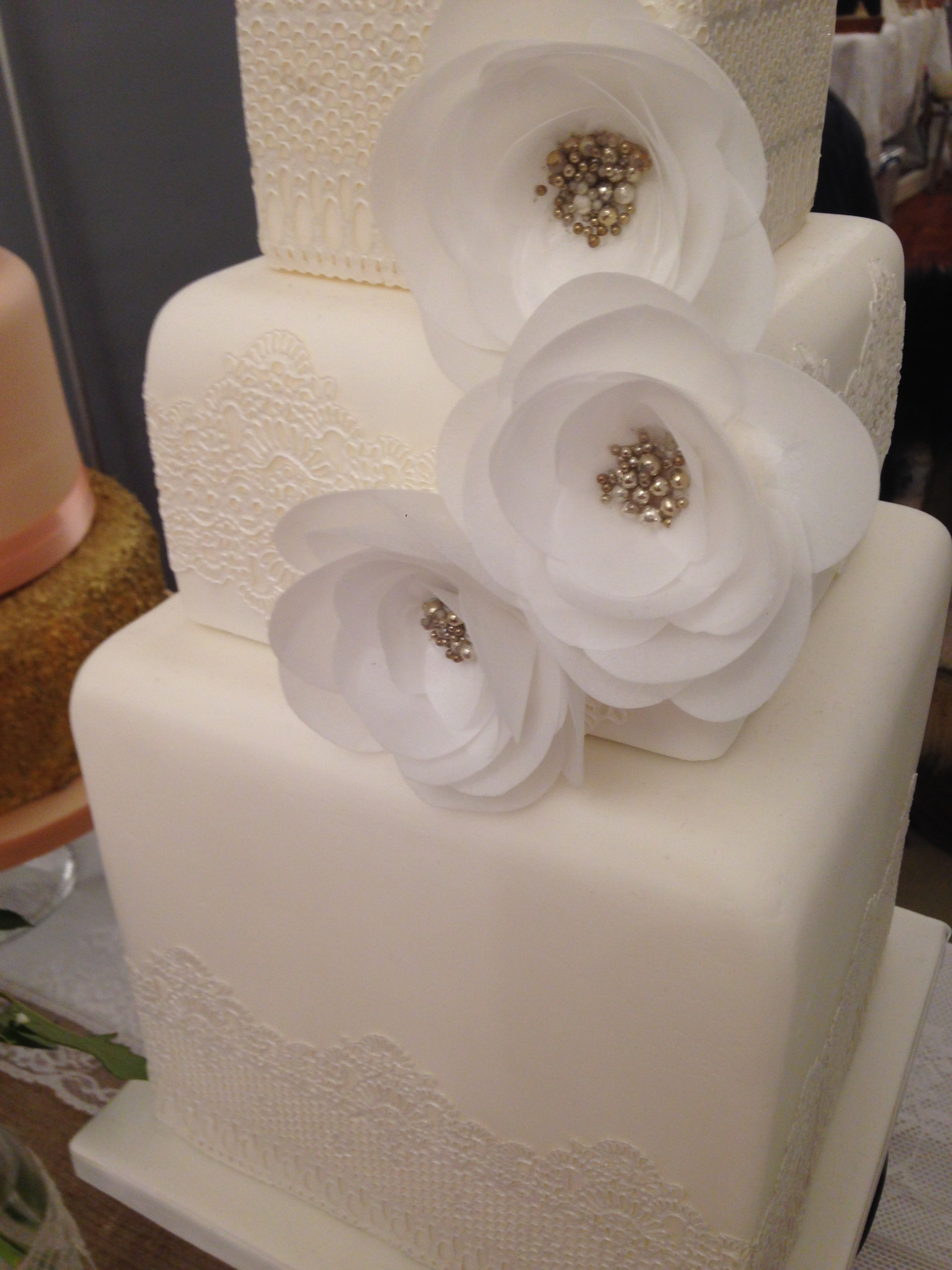 Wafer Flowers and Lace Wedding Cake