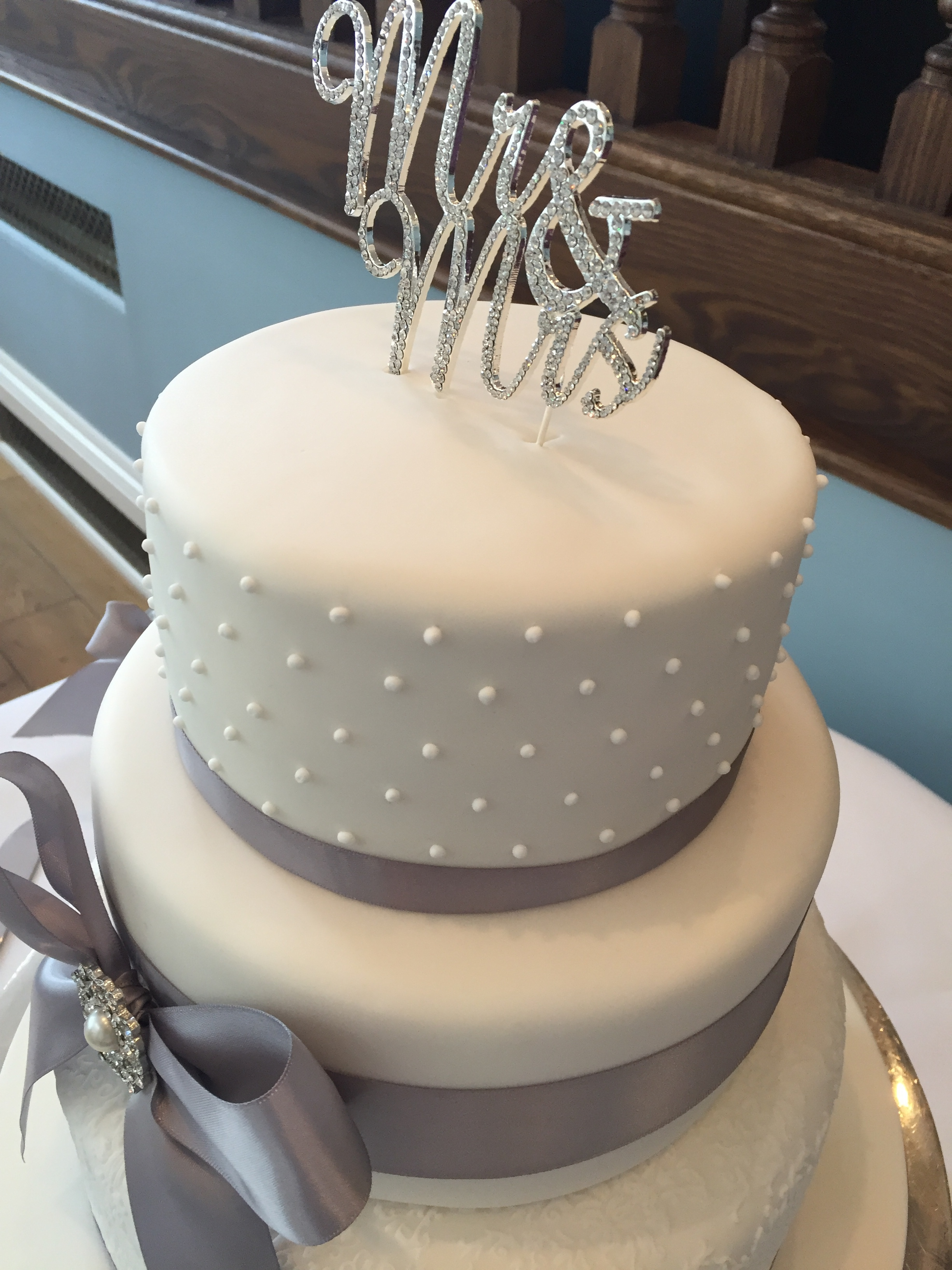 Grey and white 3 tier wedding cake