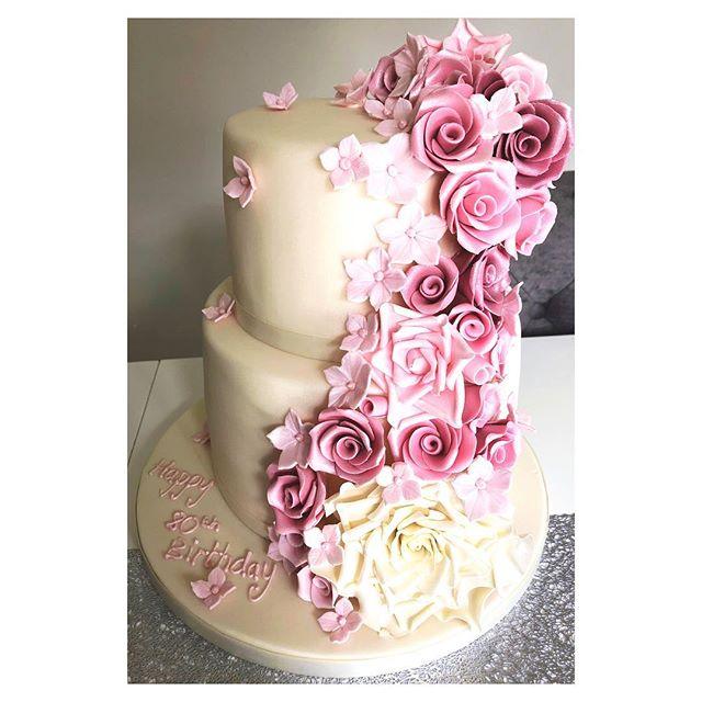 Beautiful 2 tier cake with handmade pink roses for an 80th birthday #birthdaycake #cake #weddingcake #roses #weddingideas #weddinginspiration #80thbirthdaycake #ocassioncakes