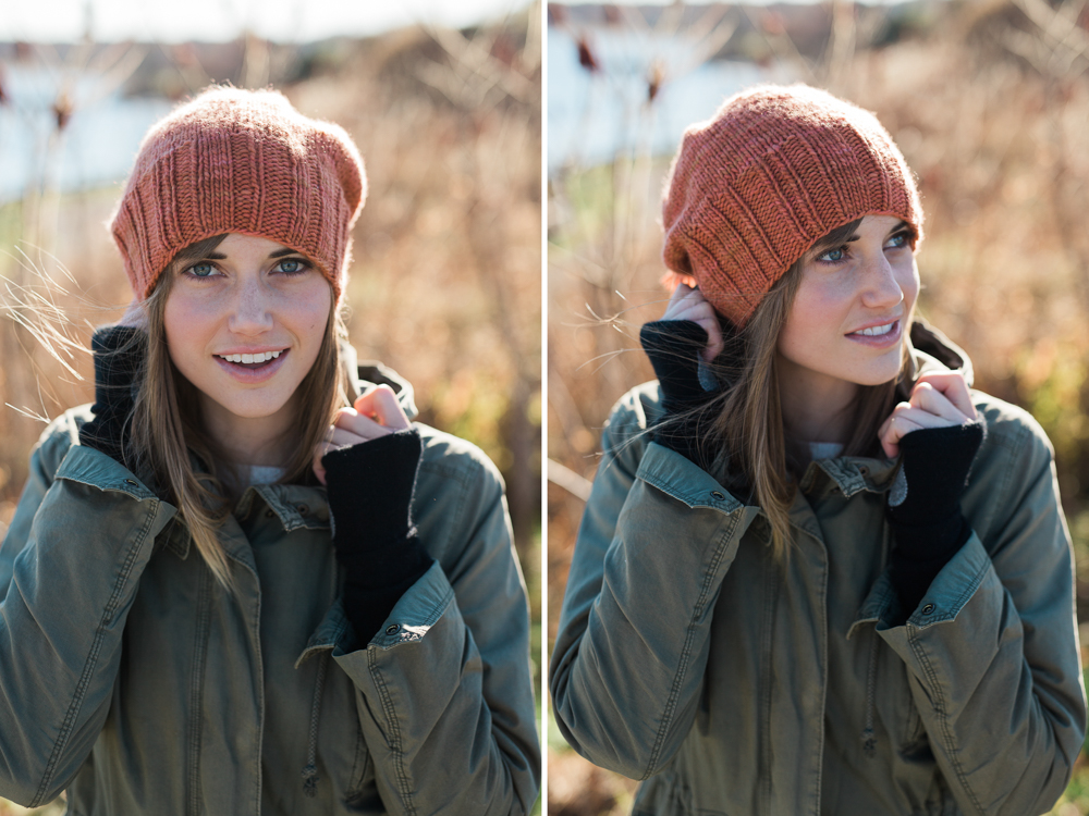 hand knit orange hat on young fashionable girl
