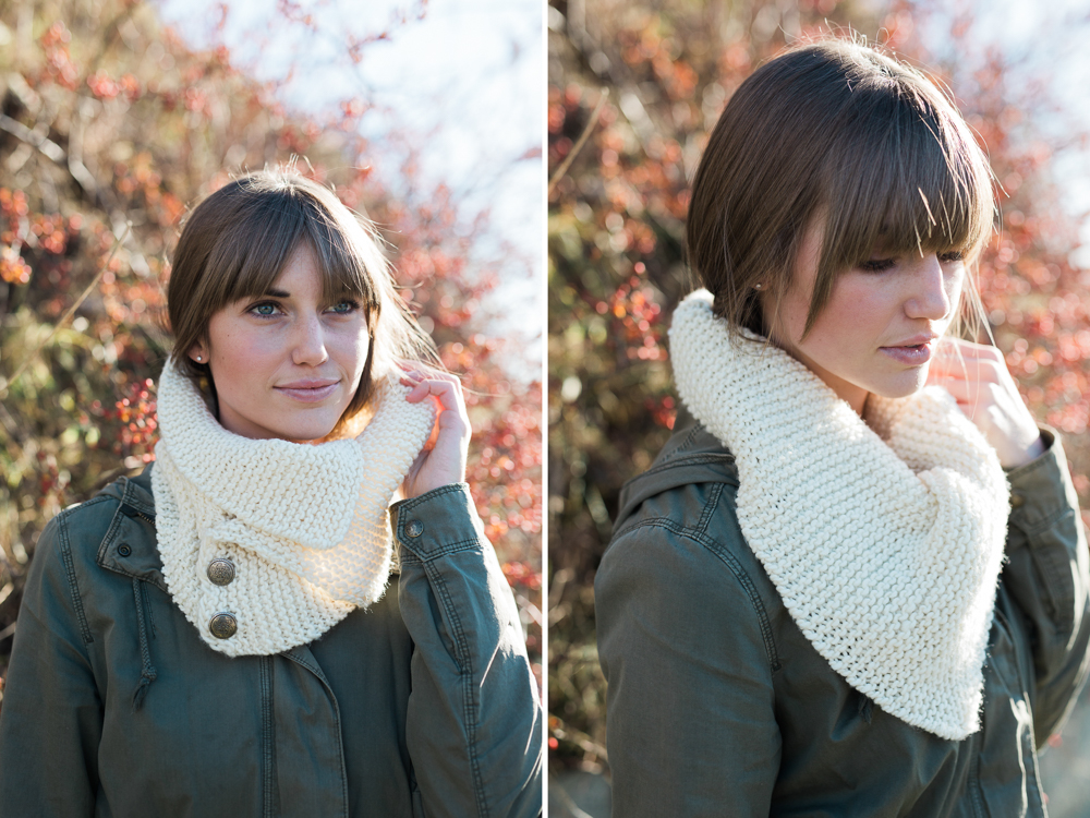 handknit cream colored neck warmer with metal buttons